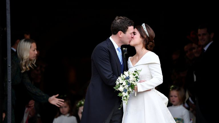 Princess Eugenie and Jack Brooksbank kiss