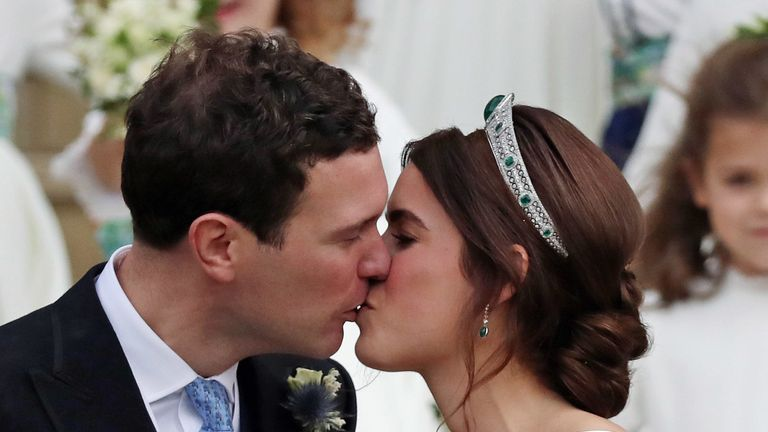 Princess Eugenie and her new husband Jack Brooksbank kiss