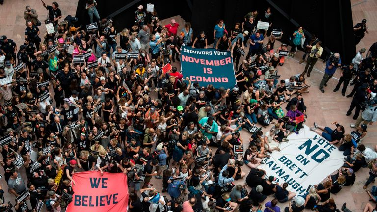Hundreds stormed the Hart Building of the US Senate to protest the nomination of Brett Kavanaugh.