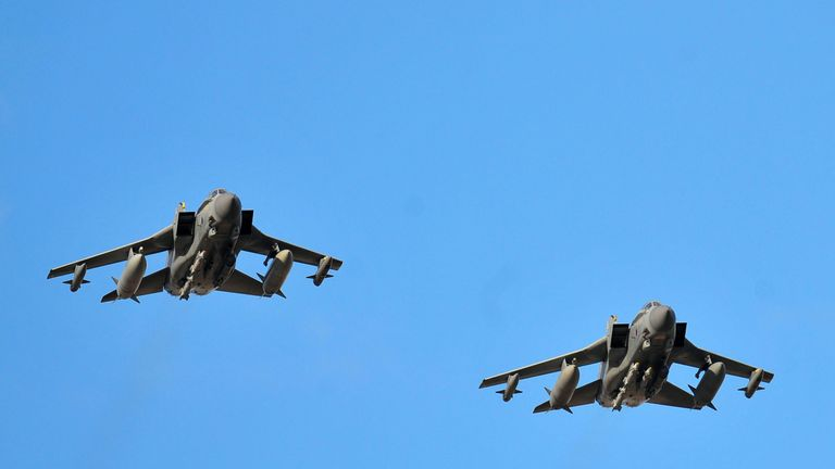 RAF Tornadoes have been carrying out aerial bombardments over IS territories in Syria. File pic
