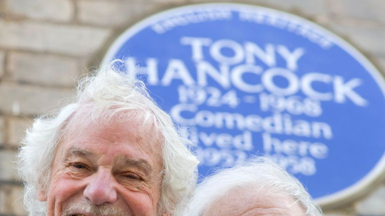 Ray Galton (left) and Alan Simpson in front of an English Heritage blue plaque, at the unveiling, outside 20 Queen's Gate Place, London, which commemorates comedy star Tony Hancock.