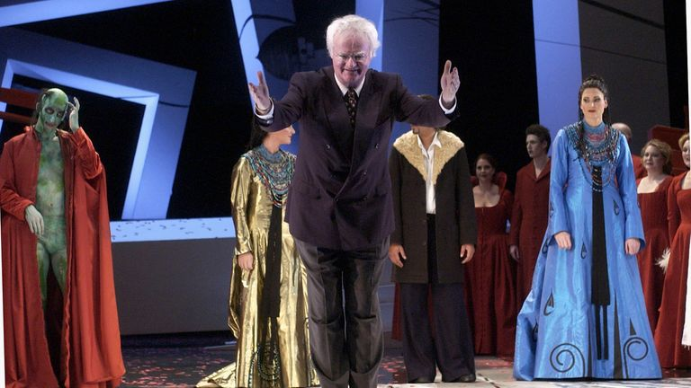 """Maestro Richard Gill salutes the audience during the final dress rehearsal of Henry Purcell's Baroque masterpiece """"Dido and Aeneas"""" at the Opera House July 14, 2004 in Sydney, Australia"""