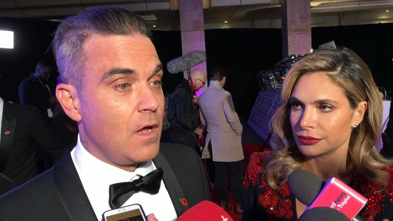 Robbie Williams and Ayda Field attend the Pride of Britain Awards.