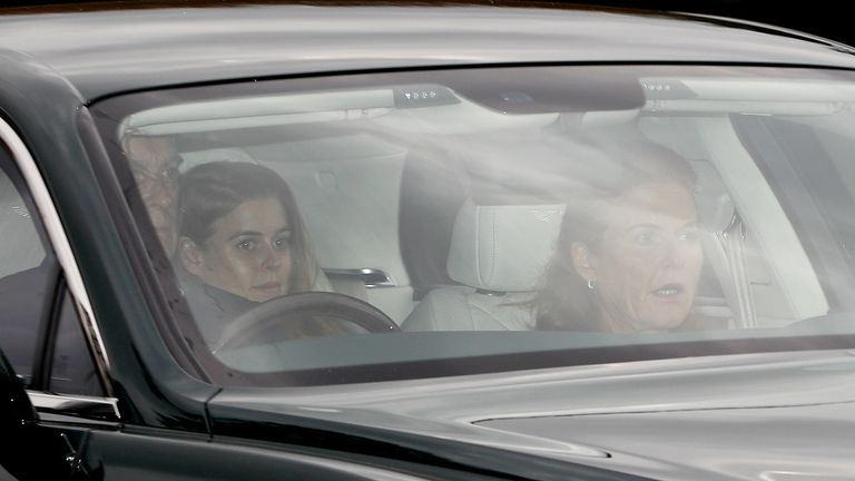 Eugenie's family, Prince Andrew, Sarah Ferguson and Princess Beatrice driving to the rehearsal