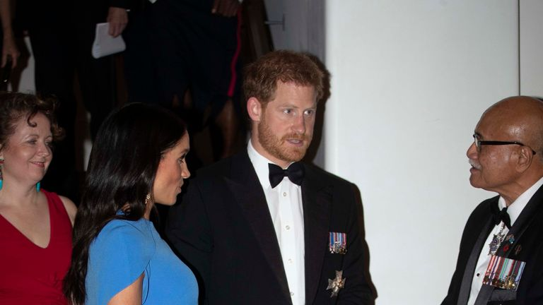 SUVA, FIJI - OCTOBER 23: Prince Harry, Duke of Sussex and Meghan, Duchess of Sussex arrive for the State dinner on October 23, 2018 in Suva, Fiji. The Duke and Duchess of Sussex are on their official 16-day Autumn tour visiting cities in Australia, Fiji, Tonga and New Zealand