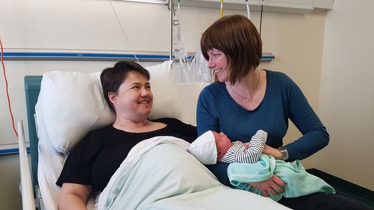 Ruth Davidson with her partner Jen Wilson and their new son Finn Paul Davidson