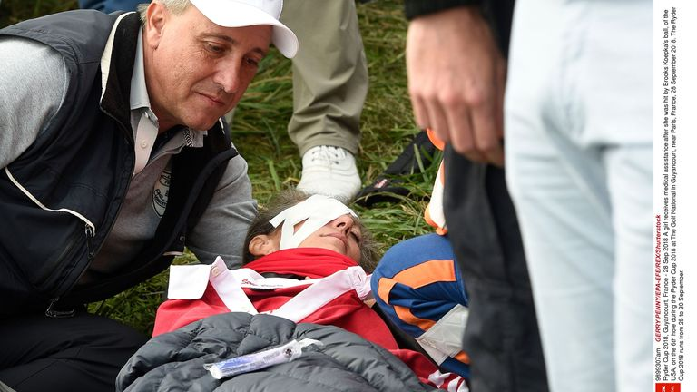 Corine Remande was hit in the eye by a tee shot from American Brooks Koepka