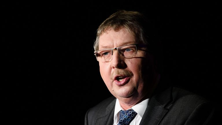 Sammy Wilson, Democratic Unionist Party (DUP) MP, addresses the audience during the launch of the 'Grassroots Out', a new cross-party group that will campaign for the UK to leave the European Union, in the Kettering Conference Centre in Kettering, north of London, on January 23, 2016.