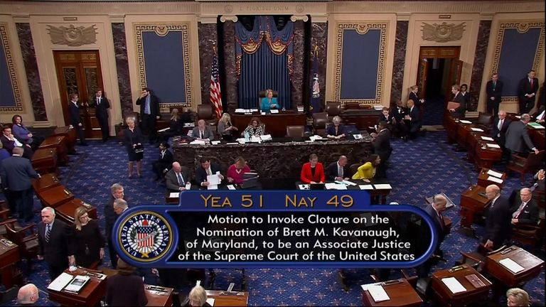 The moment the vote was tallied in the Senate