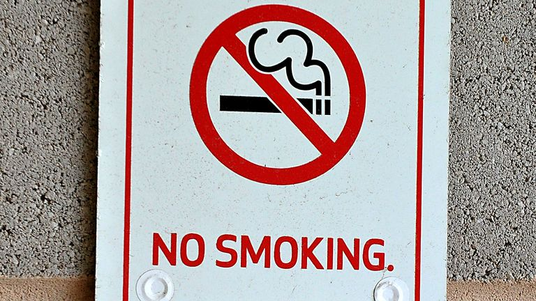 A No Smoking sign at Greenhous Meadow football stadium.