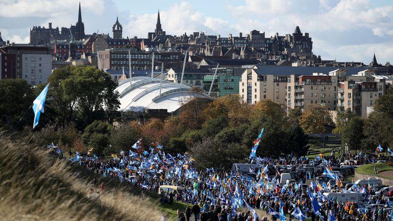 Nicola Sturgeon was addressing the All Under One Banner march