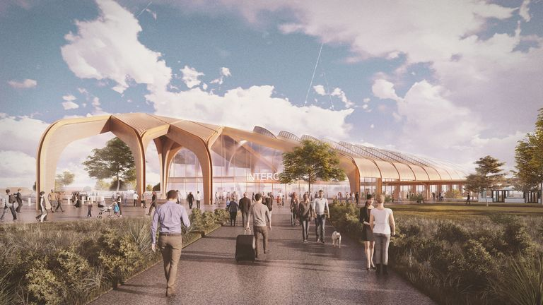 Undated Grimshaw Architects of an artists impression of the planned Interchange station which will serve Solihull, the West Midlands, Birmingham Airport and the NEC