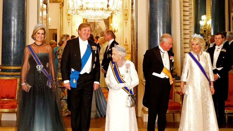 Queen Maxima (L) and King Willem-Alexander of the Netherlands join The Queen (C), Prince Charles and Camilla, Duchess of Cornwall