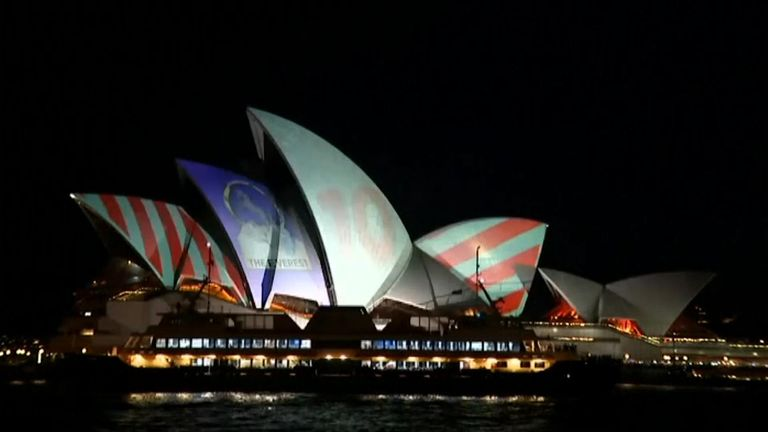 The Sydney Opera House building being used as a giant billboard