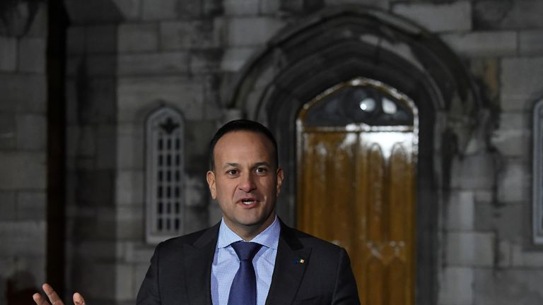 Taoiseach Leo Varadkar speaks to media at the central count centre in Dublin castle at the Irish presidential election and the blasphemy referendum in Dublin, Ireland, October 27, 2018