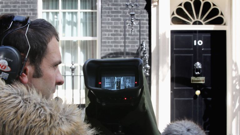 A television crew films the front of Downing Street on May 10, 2010 in London, England