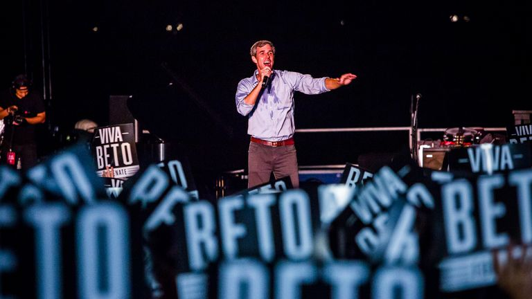 Beto O'Rourke on stage in Austin. He was joined by country music legend Willie Nelson and sang with him