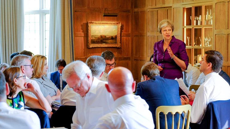 Olly Robbins (right) was with the prime minister when she presented her Brexit plan to the cabinet at Chequers
