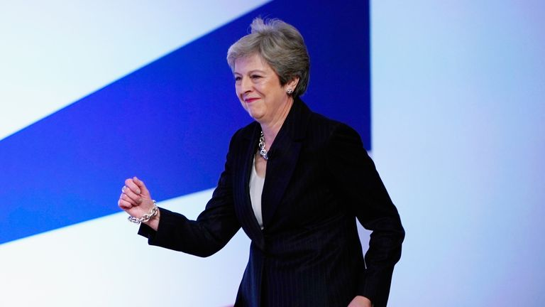Theresa May delivers her leader's speech during the final day of the Conservative Party Conference