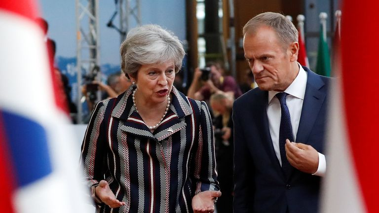 European Council President Donald Tusk and Theresa May in Brussels