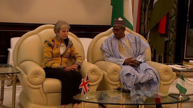 Theresa May announced measures to tackle trafficking during an Africa trip.
