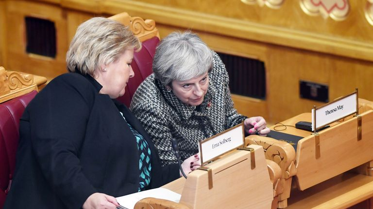OSLO, NORWAY - OCTOBER 30: British Prime Minister Theresa May attends the Nordic Council Sessions 2018 at Stortinget (Parliament) on October 30, 2018 in Oslo, Norway. Prime Ministers and parliamentarians from the five Nordic countries have gathered for they early summit. (Photo by Rune Hellestad/Getty Images)  Norwegian PM Erna Solberg