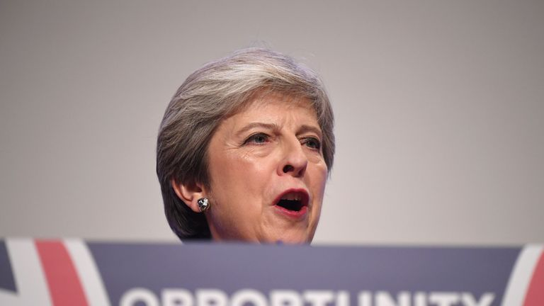 Theresa May was speaking on the final day of the Conservative Party conference in Birmingham