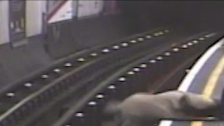 Tube pusher guilty: CCTV shows moment 91-year-old man sent 'flying' onto train tracks