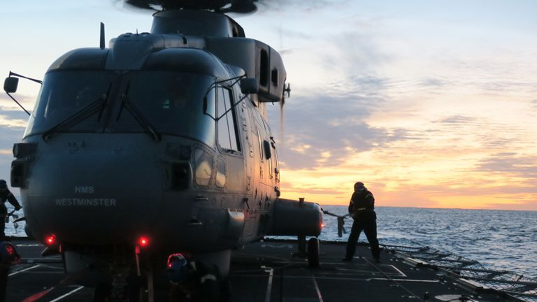 HMS WESTMINSTER and 814 Squadron Merlin Mk 2  preparing for Trident Juncture.