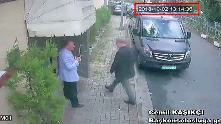 Saudi journalist Jamal Khashoggi entering the Saudi consulate in Istanbul on 2 October. Pic: Hurriyet