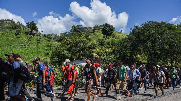 Honduran migrants taking part in a caravan heading to the US