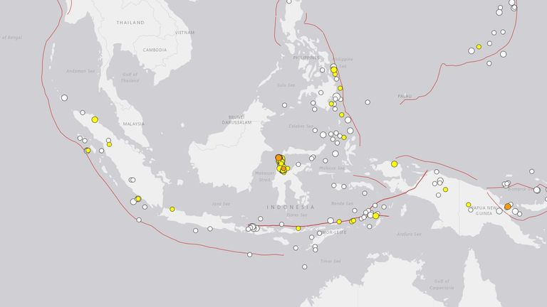 A map showing the earthquakes that have occurred in southeast Asia in the 30 days before 1 October