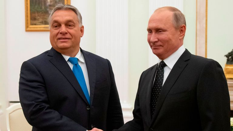 Hungarian Prime Minister Viktor Orban (L) shakes hands with Russian President Vladimir Putin