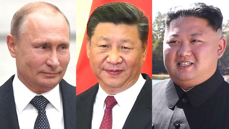 Vladimir Putin, Xi Jinping, and Kim Jong Un