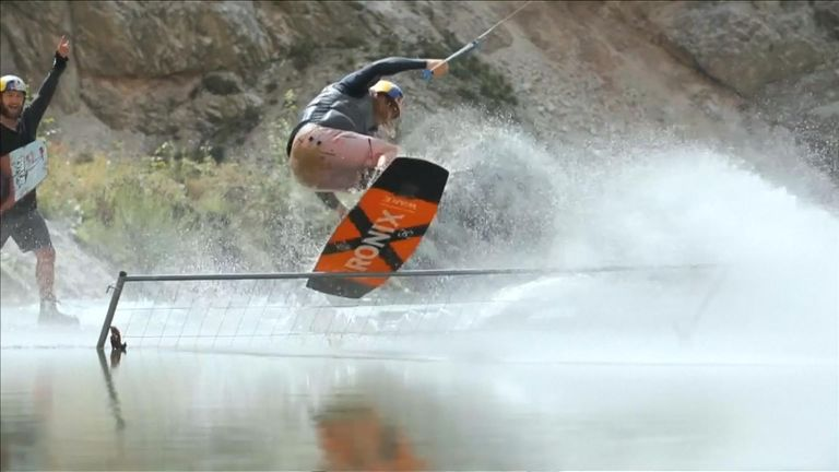 Professional wakeboarders tackle abandoned Austrian quarry.