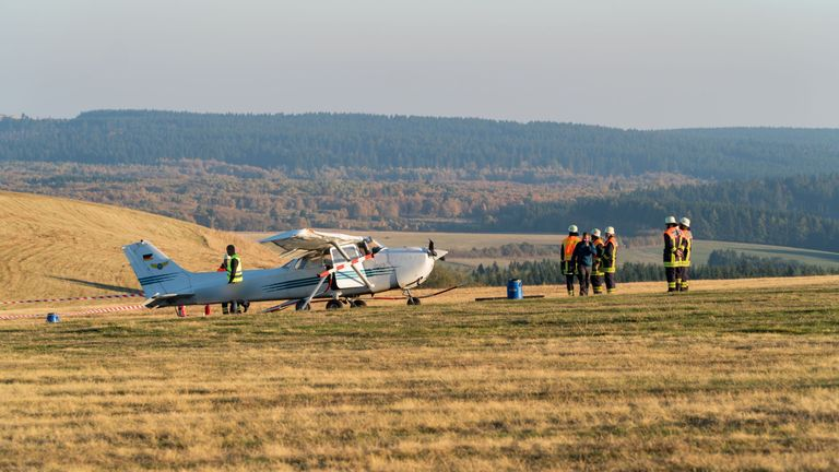 The Cessna drove into the group as they watched it trying to take off
