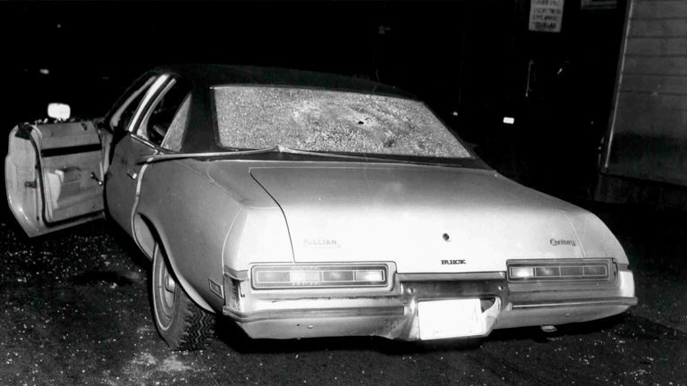 An image of a car with its windscreen shattered by bullets was shown during Bulger's trial