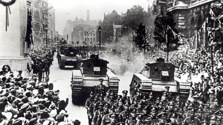 The 1919 Victory Parade passes down Whitehall, to mark the end of the First World War: British tanks were seen in Whitehall for the first time since the parade, as the Royal Tank Regiment held their annual remembrance service at the Cenotaph today (Sunday)./PA