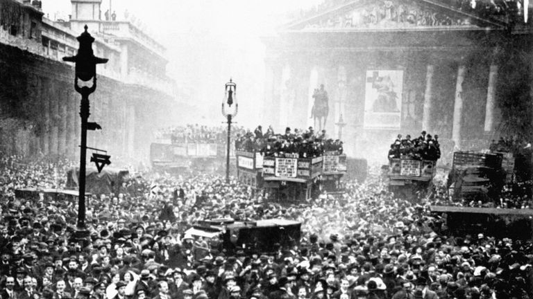 ARMISTICE DAY 1918.  The crowd gathered outside the Stock Exchange and the Bank of England in London after the announcement of the Armistice, which heralded the end of the First World War.
