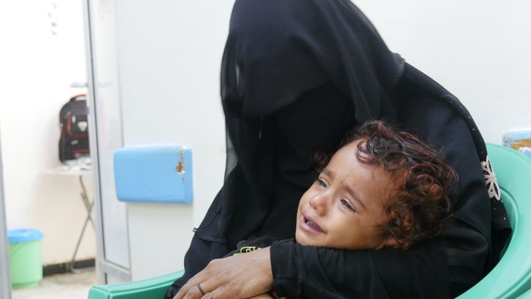 22-year-old Salwa* and her two-year-old son Aseel* caught cholera. Pic: Ali Ashwal / Save the Children