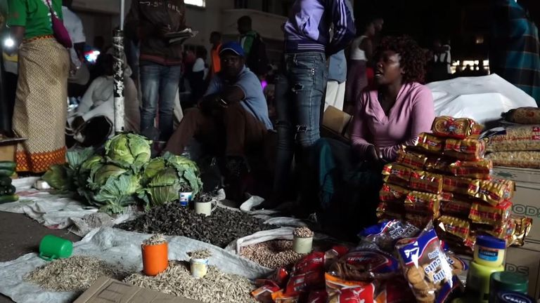 The makeshift markets come alive after dark