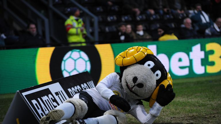 Derby mascot Rammie the Ram mocks Norwich with dive