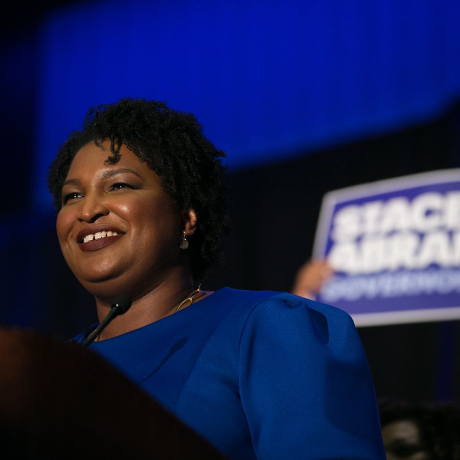 ATLANTA, GA - MAY 22:  Georgia Democratic Gubernatorial candidate Stacey Abrams takes the stage to declare victory in the primary during an election night event on May 22, 2018 in Atlanta, Georgia.  If elected, Abrams would become the first African American female governor in the state of Georgia.  (Photo by Jessica McGowan/Getty Images)