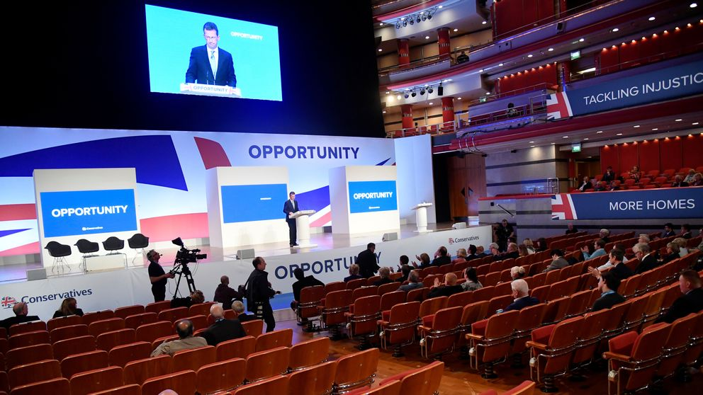 Jeremy Wright speaks at the Conservative Party Conference in Birmingham