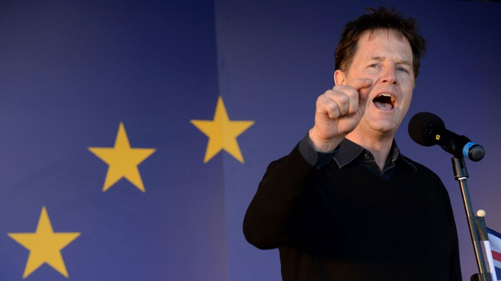 Britain's former Deputy Prime Minister, and former Leader of the Liberal Democrats, Nick Clegg, speaks during a rally following an anti Brexit, pro-European Union (EU) march in London on March 25, 2017, ahead of the British government's planned triggering of Article 50 next week.