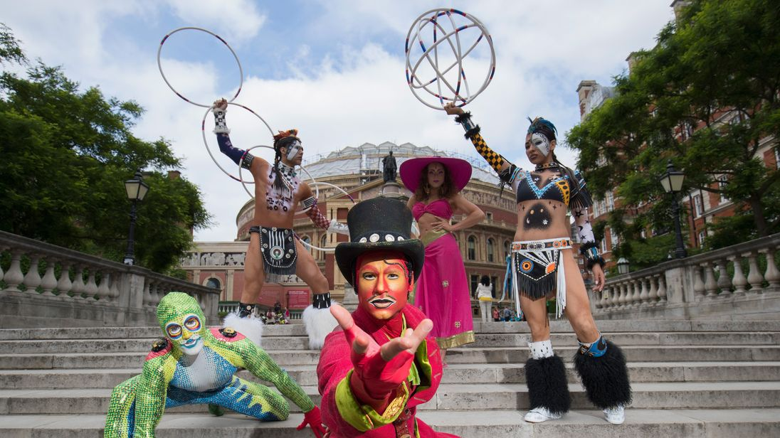 Cast of the world famous Cirque Du Soleil 'Totem' pose outside The Royal Albert Hall on June 4, 2018 in London, England ahead of the shows return to the iconic London venue.