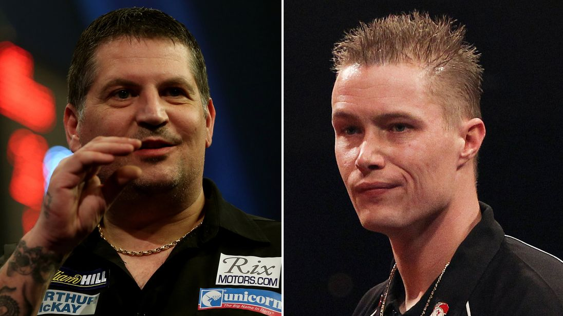 Gary Anderson (L) saw off Wesley Harms (R) 10-2 to reach the quarter-finals