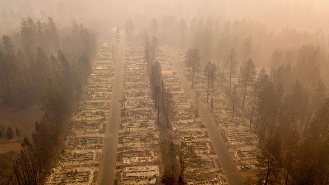 Drone footage of the destroyed town of Paradise in northern California