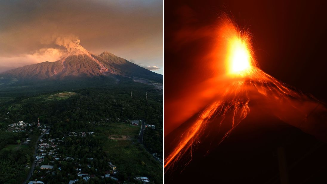 The Volcan de Fuego started erupting on Sunday night