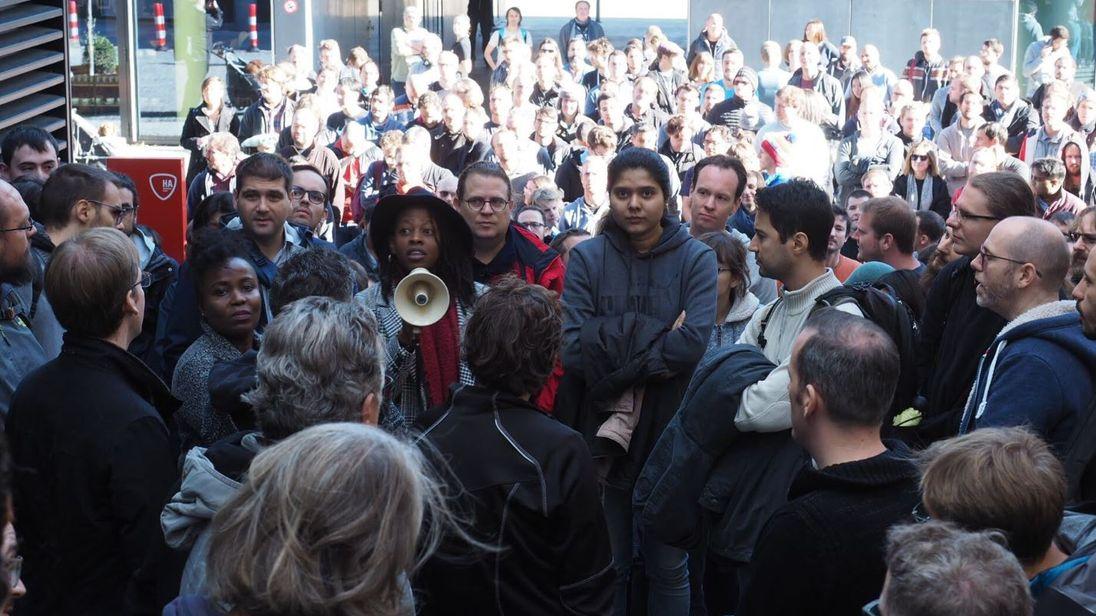 Staff gathered outside Google's offices in Zurich, Switzerland. Pic: @GoogleWalkout